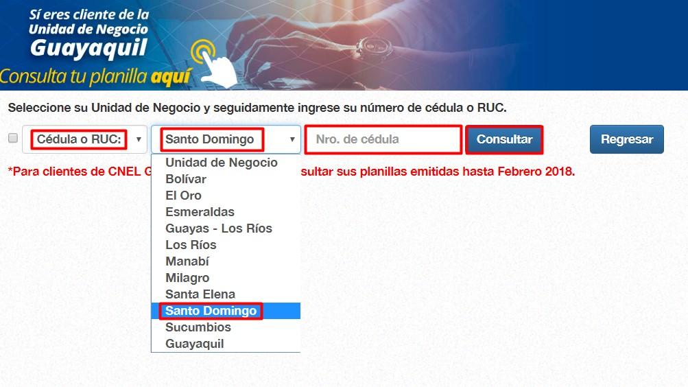 Planilla CNEL Santo Domingo Ecuador